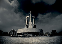 Monument to Party Foundation  Pyongyang North Korea (Eric Lafforgue) Tags: pictures travel photo war asia picture korea kimjongil asie coree journalist journalists northkorea  dprk coreadelnorte juche kimilsung nordkorea lafforgue  ericlafforgue   coredunord coreadelnord  northcorea coreedunord rdpc  insidenorthkorea  rpdc   coriadonorte  kimjongun coreiadonorte