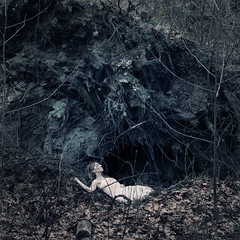 unearthed (brookeshaden) Tags: selfportrait cold tree fall grave leaves death hurt twilight dusk roots pale dirt blanket stump sunken twigs dig vignette toppled darkening fallover nikond80