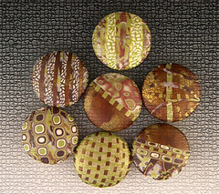 Mosaic Tiles (metalartiste) Tags: brown white green pendant reversible naftali polymerclaybeads focalbead artbead