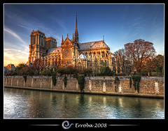 Notre Dame @ Seine, Paris, France :: HDR (Erroba) Tags: blue sunset sky orange paris france church water yellow seine photoshop canon rebel cathedral tripod gothic sigma notredame tips remote 1020mm erlend hdr cs3 3xp photomatix tonemapped tonemapping xti 400d bratanesque great123 erroba robaye erlendrobaye francesmasterpieces