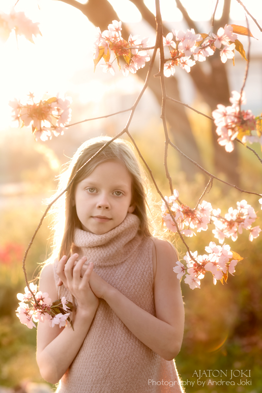 beautiful soft sunset in springtime portrait