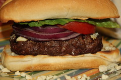 Cajun seasoned Bison burgers with Blue cheese (cooking-outdoors) Tags: buffalo bbq grill hamburgers burgers grilling bison buffaloburgers bisonburgers