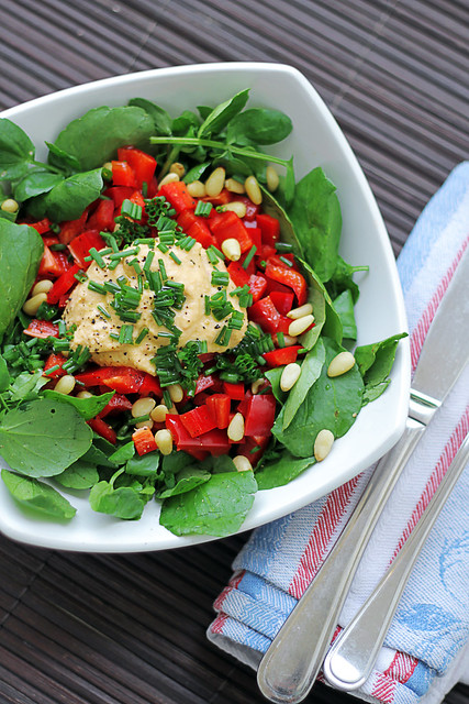 Red Pepper, Watercress and Hummus