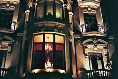 A lit house