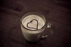 Mocha love (Nate Peterson Photography) Tags: wood morning love cup glass coffee table milk cafe heart drink chocolate beverage homemade mocha foam mug espresso aged brew teavana brewed eos30d canonefs1855mmf3556 alterracoffeeroasters alterrapunchintheface