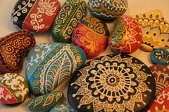 painted pebbles (Aud Marso) Tags: color colors painting diy rocks colorful paint handmade stones patterns painted small craft pebbles swap swirls dots swapbot etsyq