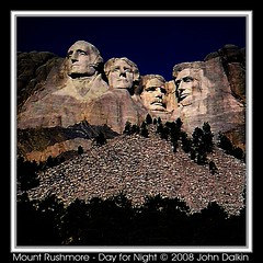 Mount Rushmore - Day for Night (Heaven`s Gate (John)) Tags: usa brown black mountains art face statue stone night america photoshop day creative dramatic landmark icon carving imagination mountrushmore effect presidents melancholytron northbynorthwest dayfornight johndalkin heavensgatejohn