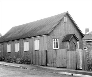 The Mission Hall in Station Road, Rushden. Affectionately known as the Tin Tabernacle was the home of  Rushden Mission Church from 1896 to 1901.