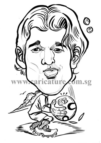 Caricature of Michael Ballack ink watermark