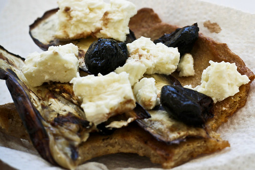 whole wheat skillet flatbread with eggplant, feta and olives