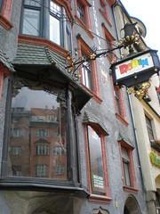 Innsbruck Book Store (TiroleanAlps) Tags: reflection window sign shop austria tirol innsbruck coffeepot