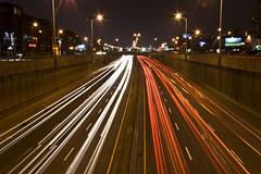 Warp speed (Kevin Tataryn) Tags: longexposure night speed traffic montreal streaks lightstream decarie 18135 d40