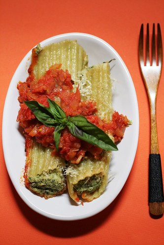 Swiss Chard and Broccoli Baked Manicotti