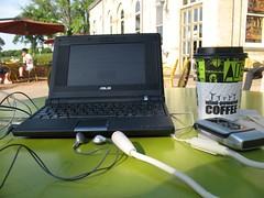 EEEPC + Free WiFi + Skype + microphone + headphones = phone