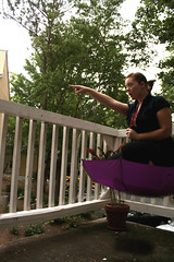 265/365: 100 days to go... moving forward! (chalupabatman) Tags: portrait sky woman me female umbrella self point outside fly flying ride purple arm magic floating sp 365 movingon 365days marypoppinsupsidedown