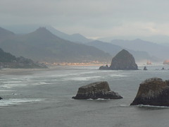 Cannon Beach and Haystack Rock from Ecola State Park viewpoint