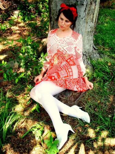 red white ruffled dress