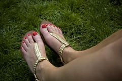 Feel the Grass (jturn) Tags: summer paris france feet grass gold sandals montmartre sacrecoeur calves rednails basiliquedusacrcur