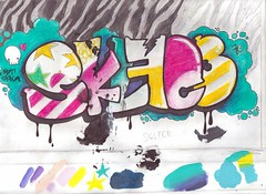 SKLFC3 - colored pencil on paper (sullface) Tags: cute pencil fun toy graffiti is still colorful jessica girly graf letters bubble coloring colored graff typo bubbly obnoxious skullface a typog sklfce