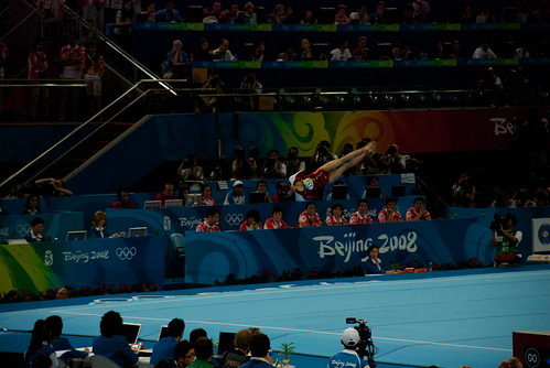 Heres Shawn Johnson on her way DOWN after flipping up higher than your head on floor exercise.
