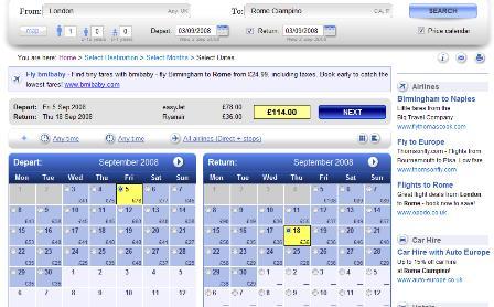 Skyscanner calendar search