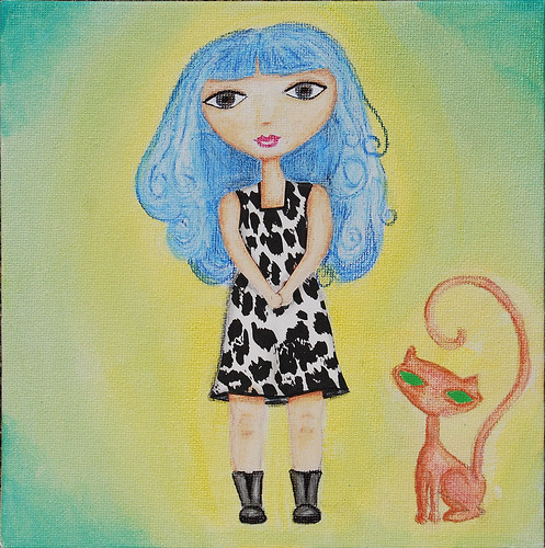 collaged dress & more shading - girl with cat