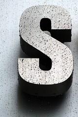 Wet Aluminum Capital Letter S (Washington, DC) (takomabibelot) Tags: rain geotagged washingtondc dc aluminum ss s letter oneletter 1707 majuscule lstreetnw geo:lat=38903812 geo:lon=77039174