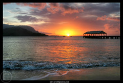 Peaceful Sunset (Arnold Pouteau's) Tags: ocean sunset beach hawaii bay pier pacific kauai hanalei