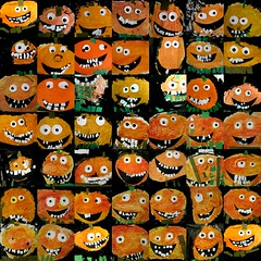 it's october 1st. know what that means? (artsy_T) Tags: orange silly art fall halloween collage painting circle october funny drawing mixedmedia pumpkins cutting kindergarten artproject tempera artroom elementaryart colormixing facialfeatures redyelloworange jacolanterns