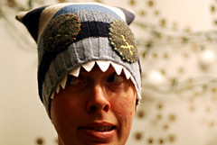 blue striped monster hat