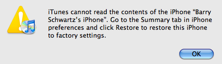 iPhone iTunes Restore Necessary!