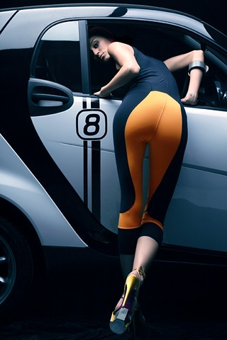 smart fortwo and hot girl in