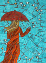 This Magic Moment (cbmosaics - Christine Brallier) Tags: flowers blue red orange woman art rain lady umbrella artist wind mosaic magic mosaics stainedglass wallhanging vitreous millefiori figurativeillustration cbmosaics bralliercm
