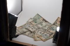 My DIY Lightbox set up. (stephenkirsch) Tags: light money up set fun diy nikon box sb600 tent cash success currency vr cls 18105 sb800 d90 strobist