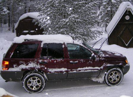 Mom's Snow Covered Jeep