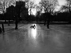 (dlemieux) Tags: winter light sunset people blackandwhite bw sunlight ice boston shadows skating dlemieux friday bostoncommon bostonist