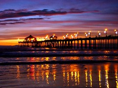 night reflection of the pier (jst images) Tags: sunset reflection beach water night clouds lights pier sand waves dusk huntingtonbeach feelsgood thisfeelsgood