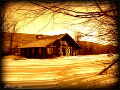 Winter Lodge ( Sepia) by J.Everhart ( julev69  200,000+ views ~THANK YOU!!!) Tags: wood winter snow sepia forest cabin woods shadows upstate lodge logcabin picnictable oldtime cubism thelodge winterphotography cabinrental countrycabin jeverhart sceniclodge julev69