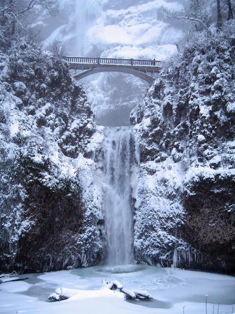 Multnomah Falls is nearly frozen