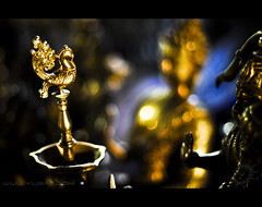 What we are is God's gift to us. What we become is our gift to God. (Yug_and_her) Tags: life light india colors metal bronze gold evening nikon dof bokeh buddha 50mm14 gods hanuman hyderabad incredible sculptures d90 shiparamam