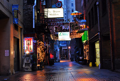 GoodMorningPrintersAlley (andygasparini) Tags: urban sign shop alley downtown nashville streetlights tennessee goodmorning printers stables d60 lonnies printersalley