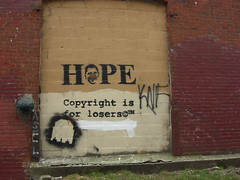 Obama - Hope Graffitti in Brooklyn (kerstin_a_hack) Tags: newyork marketing obama obamania