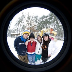 with Rob (pgpanic) Tags: park trees winter dog selfportrait snow lauren nature weather playground sarah sisters digital snowman woods nikon lab frost swings freezing pug wideangle slide rob pitbull fisheye gloves flurries paths fullframe noelle 8mm element d3 bestfriends snowday snowballfight nikond3 nikonwideangle