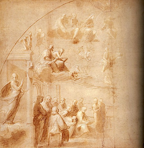 1508  Raphael    The Disputa, Compositional study for the Left-Hand side  Brush and brown wash  27,6x28,3 cm  Londres, The Royal Collection