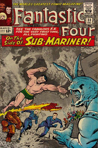 Jack Kirby photomontage cover from Fantastic Four #33 (December 1964)