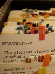 (127) Dramaturgy (avclayton) Tags: macro home typewriter paper cards typography theatre bokeh books flags research dramaturgy dissertation oldthings project365