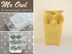 Owl carved paper tutorial (ninimakes) Tags: owl cutpaper tutorial eggcarton