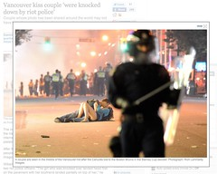 """Kissing Couple"" at Vancouver Stanley Cup Riot identified as Australian man Scott Jones and Canadian woman Alex Thomas"
