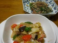 20080222_ポークとエビの中華丼、レバニラ炒め