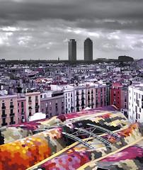 Barcelona: Vista per sobre el teulat del Mercat de St. Caterina [08022309]